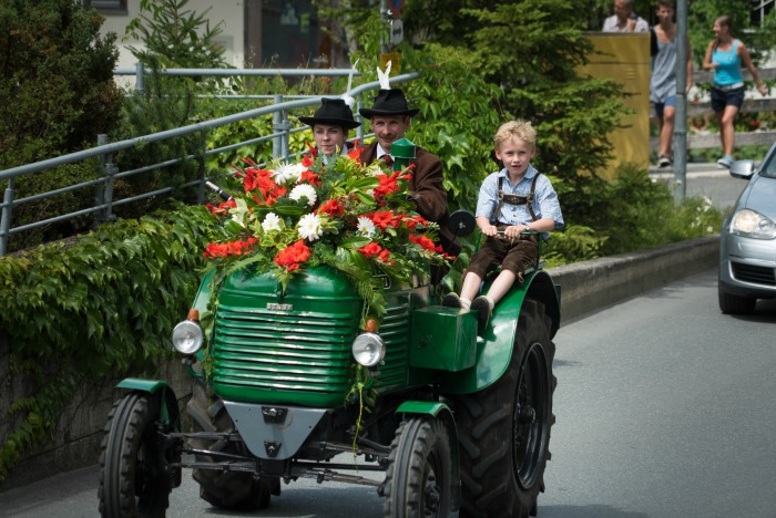 Flowers in a parade in Austria