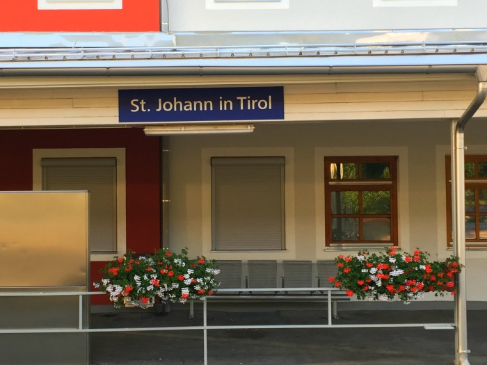 Railing planters at a train station in Tyrol