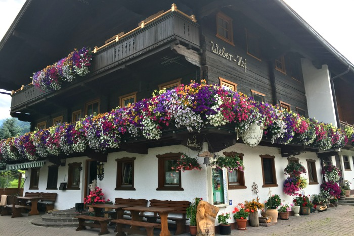 Austrian window boxes overflowing with flowers