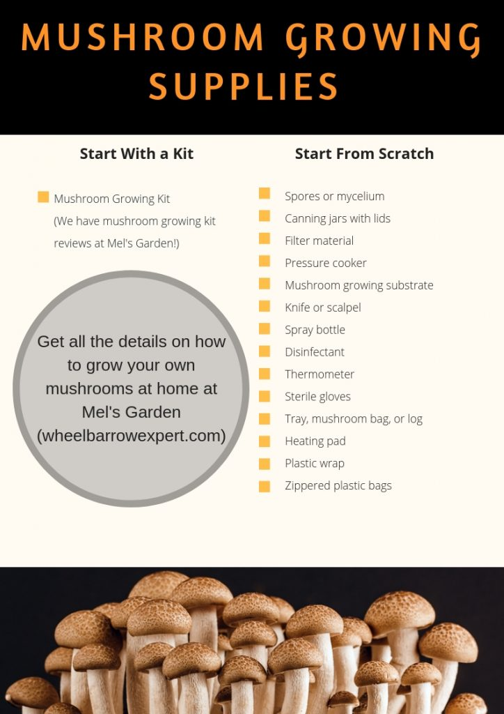 Can I grow my own mushrooms at home? Use our mushroom growing supplies list and instructions for indoor mushroom growing. You can use a mushroom growing kit or grow mushrooms from spores.